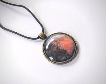 Red Moon Pendant Necklace