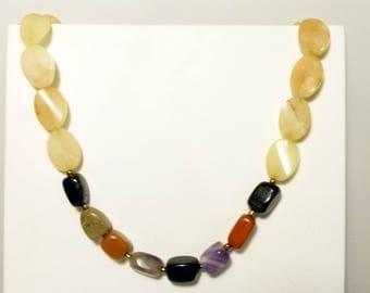 classy multi gemstone handmade necklace , large stones, goldstone, amethyst, blackstone and quartz and agate necklace