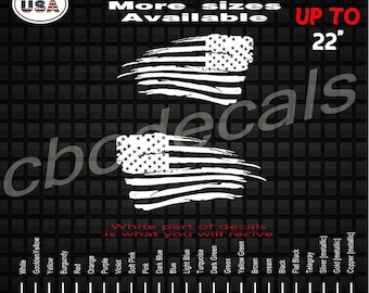 Distressed American Flag  Decal Sticker | Car Window Decals | Patriotic Decals | Military Army Decals | Truck Decals | USA Decals