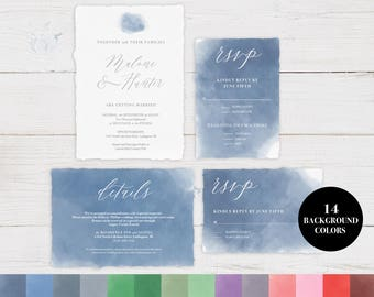 Watercolor Wedding Invitation Template, Wedding Invitation, DIY Wedding Invitation, Wedding Template, PDF Instant Download #WC001_4