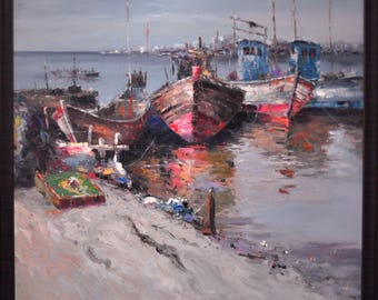 Boats painting, oil painting, hand painted picture, boats hand painted on canvas