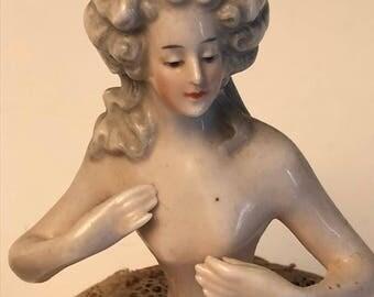 Semi antique 1920's porcelain figurine box