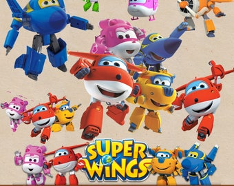SUPER WINGS clipart png images, digital clipart, digital print, png file, transparent backgrounds, cartoon clipart,  printable images
