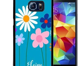 Personalized Rubber Case For Samsung S5, S6, S6 edge, S6 Edge Plus, S7, S7 Edge,  8, 8 plus -  Bright Blue Flowers