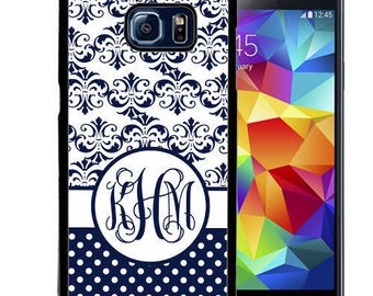Monogrammed Rubber Case For Samsung Note 3, Note 4, Note 5, or Note 8- Navy Damask Polka Dots