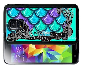 Personalize Rubber Case For Samsung Note 3, Note 4, Note 5, or Note 8- Mermaid Purple Blue Scales