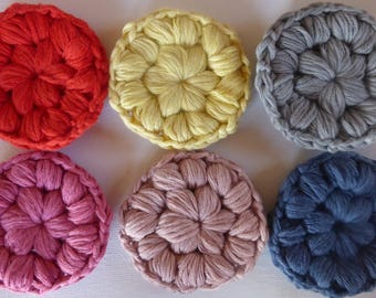 100% Organic Cotton Eco-Friendly & Fairtrade Reusable Make-up Remover Pads Eco-friendly Hand Crocheted