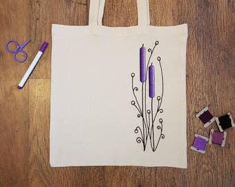 Embroidered tote bag, floral tote bag