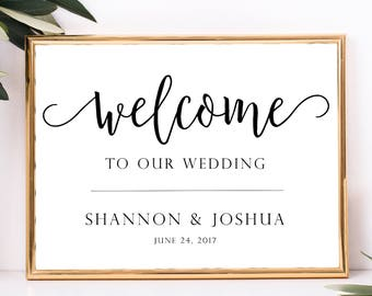 welcome to our wedding sign template digital printable. Black Bedroom Furniture Sets. Home Design Ideas