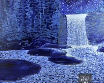 Acrylic Impressionism Night Sky Painting 20th Century on Board Abstract Landscape Nightscape Modern Art Waterfall Vintage Original