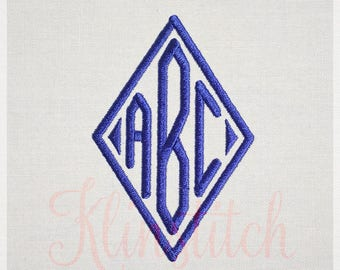 Diamond Monogram Embroidery Fonts 4 Sizes Three Letters Monogram Fonts BX Fonts Embroidery Designs PES Alphabets - Instant Download