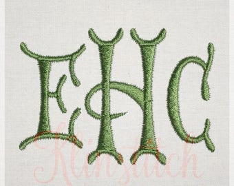 Silent Night Monogram Embroidery Fonts 6 Sizes Three Letters Monogram Fonts BX Fonts Embroidery Designs PES Alphabets - Instant Download