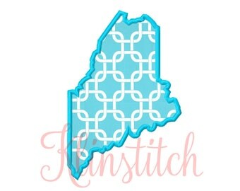 50% Sale!! Maine State Applique Designs 9 Sizes Embroidery Designs USA State Outline Embroidery PES Embroidery Designs