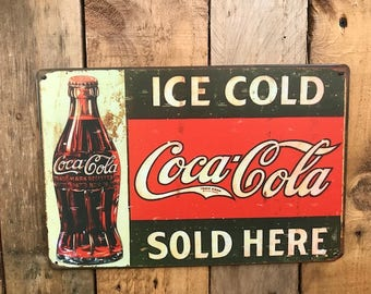 Wonderful Vintage Ice Cold Coca Cola Sold Here Metal Wall Sign