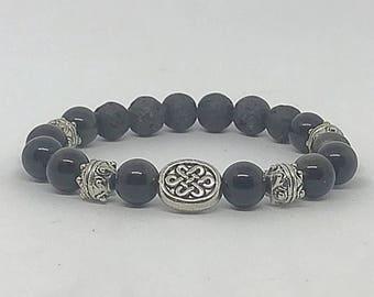 Celtic Knot Obsidian Affirmation Bracelet