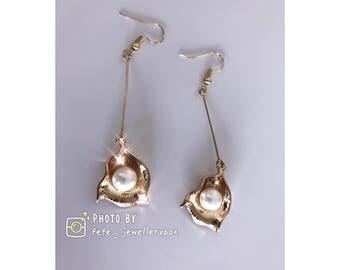 Gold Plated Pearl Geometric shape Earrings
