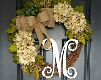 Cream Hydrangea Wreath,Hydrangea Wreath,Year Round Wreath,Front Door Wreath,Summer Wreath,Door Wreath,Grapevine Wreath,Farmhouse Wreath