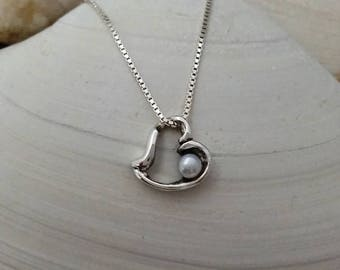 Silver Heart Necklace,Heart Pearl Pendant,Silver Necklace,Necklace, Valentines Day,#150