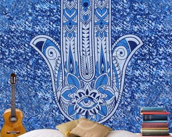 Boho Queen Size Mandala Tapestry - Blue Hamsa