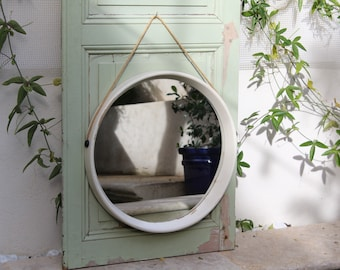 Vintage off-white wood mirror