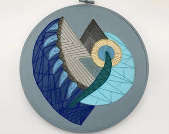 Abstract Eye Geometric Hand-Embroidered and Painted Hoop