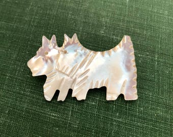 Vintage Scottie Dog Shell Brooch