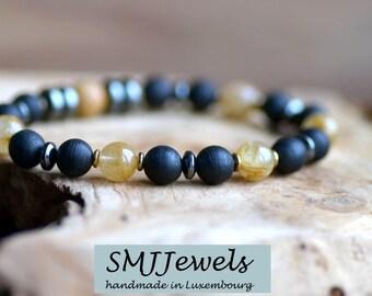 Nouveau: Bracelet perles quartz rutile bois d'Agar pierres naturelles semi-précieuses fait main unisexe hématites