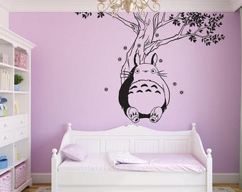 Totoro Relax Sticker Vinyl Wall Decal Home Decorate Large Wall Sticker 0594  100W X 74H