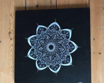 Hand-drawn white mandala on black wooden board - 'The Jenny Board'