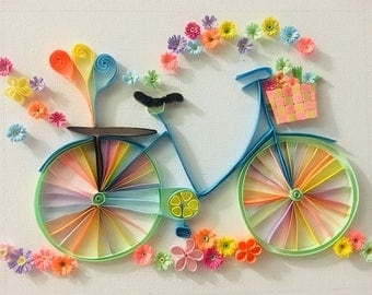 Quilled Bicycle With Flower Bouquet HandMade Wall Art