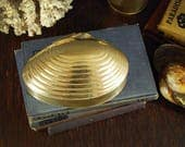vintage Brass Shell Container Clam Shell Trinket Box Nautical Desk Storage