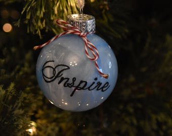 Hand Painted Glass Marbled Christmas Ornament