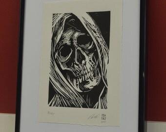 Memento Mori, Death, Mortem, Grim Reaper, Rigor Mortis, Linocut Print, Handmade, Original, Limited Edition
