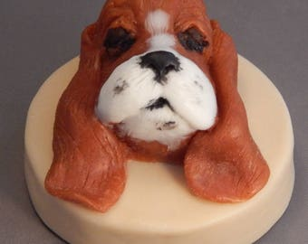 Basset hound handmade bar of soap.