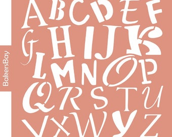 Alphabet Cake Stencil, Cookie Stencil, Designer Stencil, Decoupage stencil, Tortenschablone