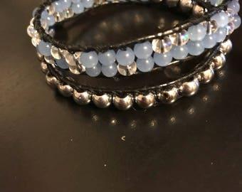 Crystal blue Leather Wrap Braclet