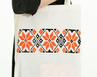 Traditional Balkan motives tote bag
