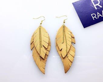 "Feather Earrings , Leather Feather Earrings, Genuine Metallic Leather Feather Earrings, Beautiful Earrings, Raavi ""Cirrus"" Leather Earrings."
