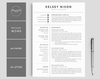 """Resume Template   Creative Resume   CV Resume + Cover Letter   3 Pages Pack   Resume Template for Word   Instant Download Resume   """"KELSEY"""""""