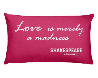 Shakespeare Pillow, Quote, Love, With Saying, Words, Decorative Toss Throw Cushion For Bed, Couch, Insert Included, Rectangle, Romantic Gift