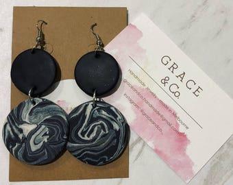 Black marble earrings