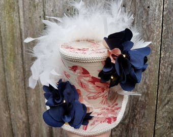 Mini top hat with lights, Wedding, Tea Party, Mardi Gras, Bride-to-Be, Steampunk