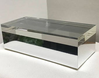 Italian Vintage Alessandro Albrizzi Lucite Box, Clear top, Mirror Base | Vintage Lucite Box | Modern and Vintage Decor