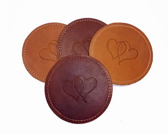 Leather Coasters - Stitched - Round Design