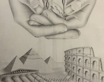 """Original Pencil Drawing / Graphite Drawing by Irina Wingerter - Broken Hourglass And Ancient Civilizations. Size: 12"""" x 16"""""""