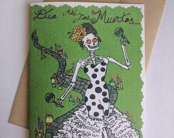 Day of the dead Skeleton Greeting Card Dia de los Muertos Mexican Art