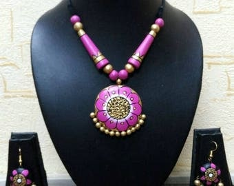 Unique Eco Friendly Handmade Terracotta Necklace Set