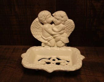 D.M.T.C. Cast Iron Ornate Soap Dish Angel Wings Cherub with a Kiss on the cheek Antique White