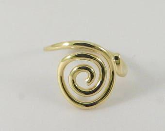 14K Gold spiral ring