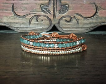Double wrap Chan Luu style ~ Apatite and silver